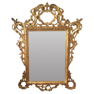 Antique Carved Giltwood Italian Mirror