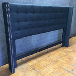 Image of Navy Wingback California King Headboard