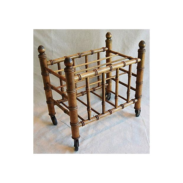 1920s Carved Wooden Bamboo-Style Magazine Rack Holder - Image 5 of 11