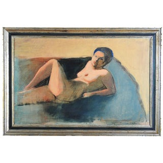 Reclining Nude - Original 1960s Oil by G. Pillin