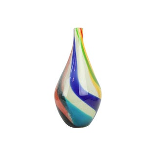 Swirled Multicolor Hand-Blown Art Glass Vase