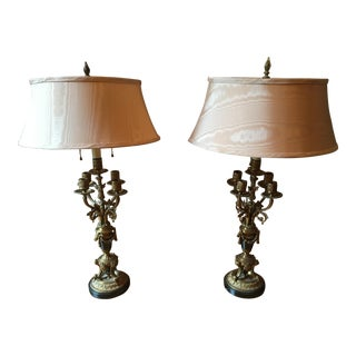 French Louis XVI Gilded Bronze Table Lamps - A Pair