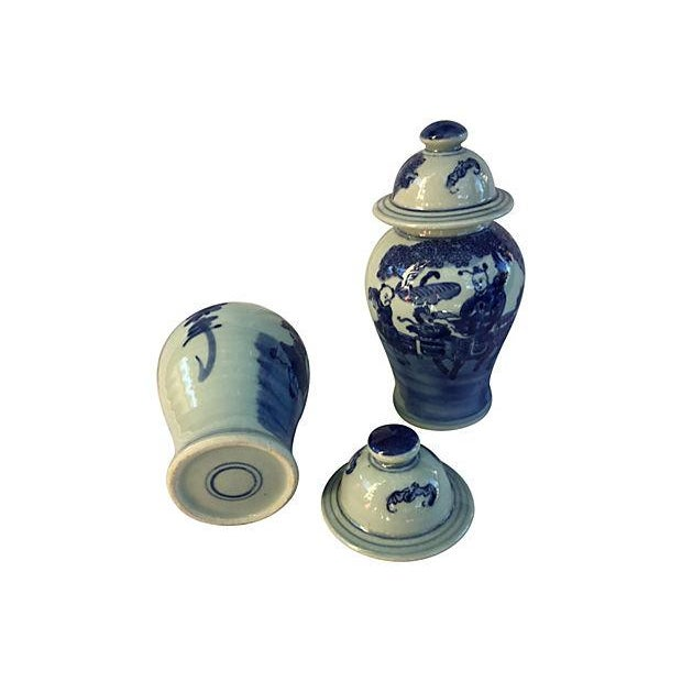 Image of Blue & White Lidded Ginger Jars - A Pair