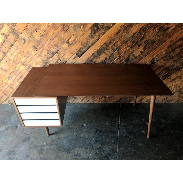 Custom Large Mid Century Style Walnut Desk - Image 3 of 11