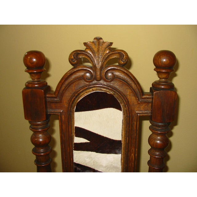 Berkey & Gay Jacobean Cane & Cowhide Arm Chair - Image 5 of 11