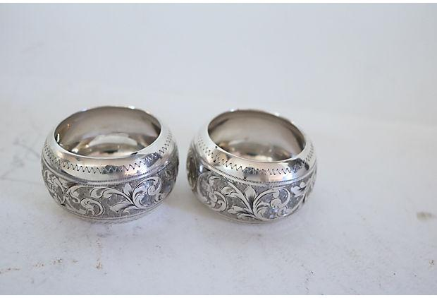 antique sterling silver napkin rings a pair chairish