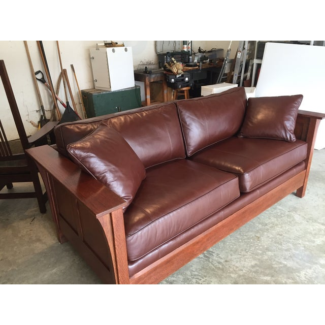 Stickley Leather and Wood Sofa - Image 3 of 7