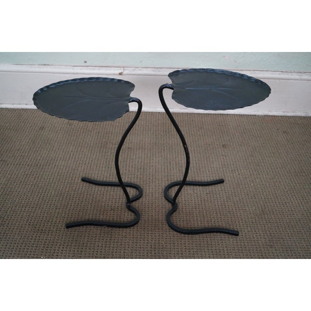 Salterini Iron Lily Pad Side Tables - Pair - Image 7 of 10