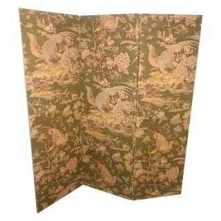Vintage Olive Green Pheasant Fabric Room Screen
