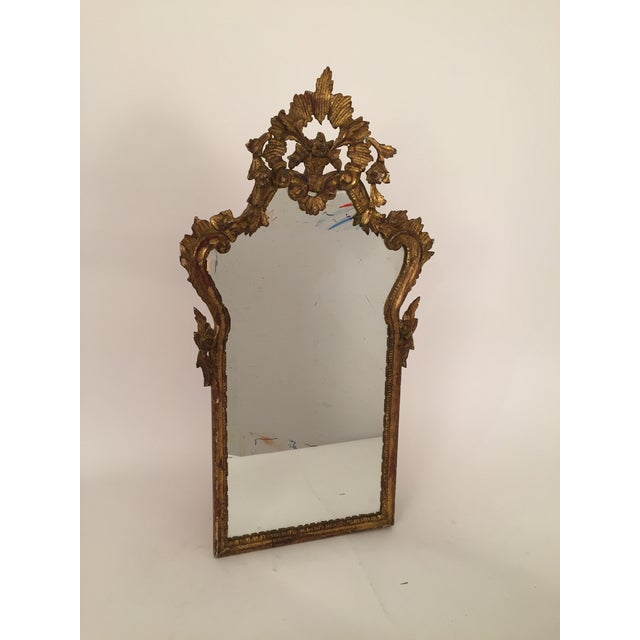 Image of Antique Italian Gothic Gold Leaf Mirror