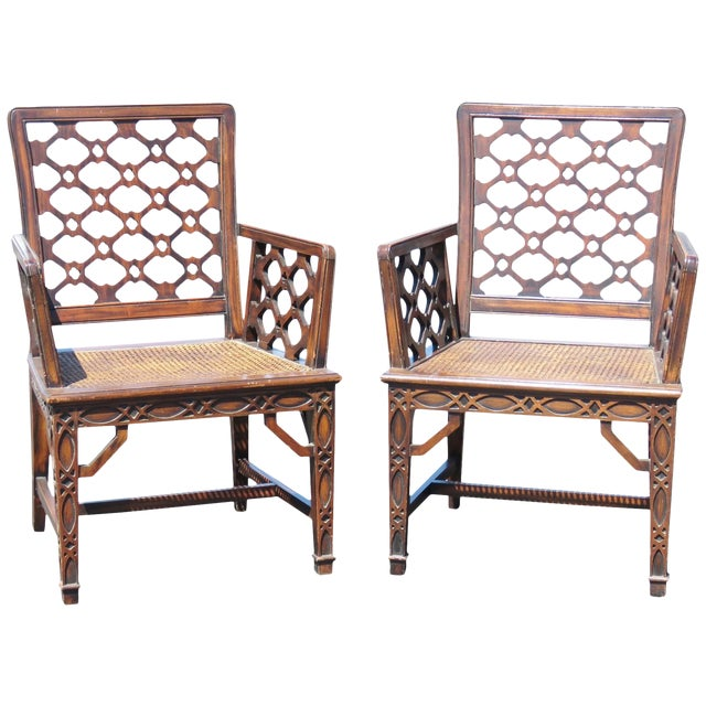 Image of Chippendale Style Caned Chairs - A Pair