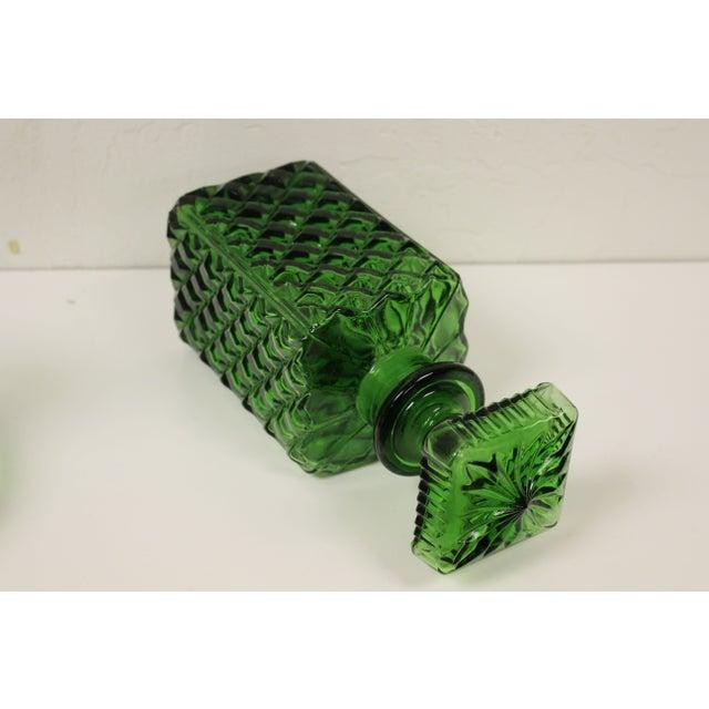Image of Vintage Emerald Green Glass Decanter Set