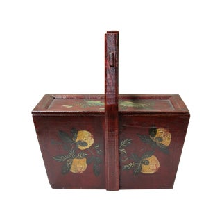 Vintage Chinese Rectangular Pomegranate & Flowers Food Bucket