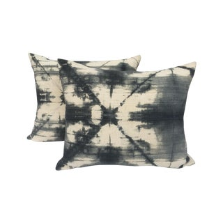 African Grey Tie-Dye Mud Cloth Pillows - a Pair