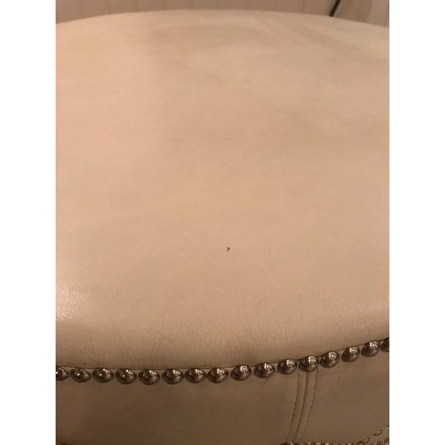 Custom Stud Leather Coffee Table With Brass Tray - Image 5 of 7