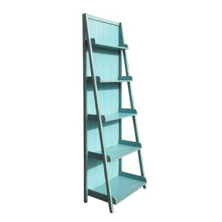 Rustic Light Blue Lacquer Step Display Cabinet/Shelving