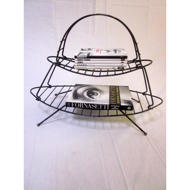 Mid-Century Modern Modernist Wire Magazine Rack - Image 4 of 6