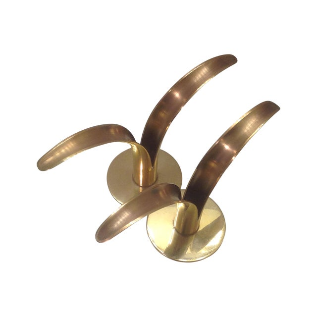 Mid-Century Ystad Metall Brass Candle Holders-Pair - Image 1 of 6