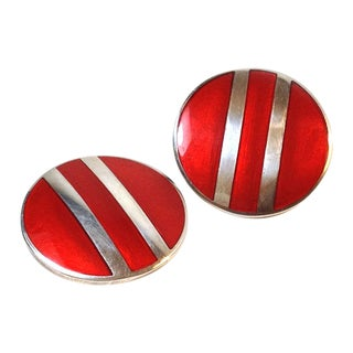 Sterling with Red Enamel Earrings