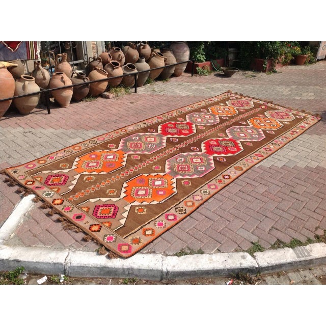 "Vintage Turkish Kilim Rug - 6'5"" X 11'6"" - Image 3 of 6"