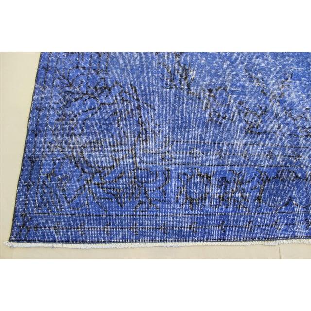 Dark Blue Turkish Over-Dyed Rug - 6′1″ × 10′4″ - Image 5 of 9