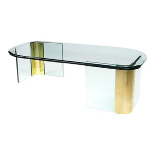 Asymmetrical Glass & Brass Cocktail Table In The Manner Of Pace