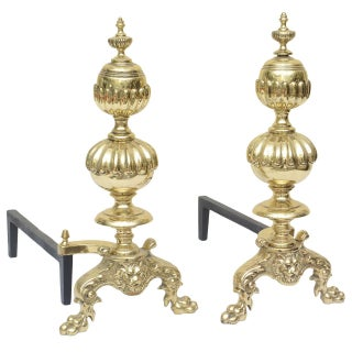 Large Georgian Style Andirons - a Pair