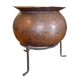 French Copper Cooking Vessel on Stand