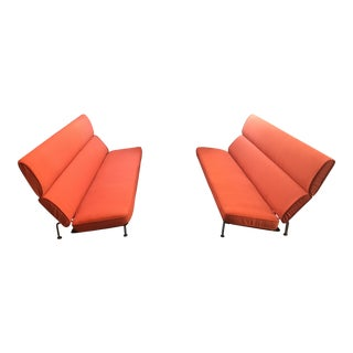 "Early Eames ""Compact"" Sofas Upholstered in Maharam Textile - Pair"