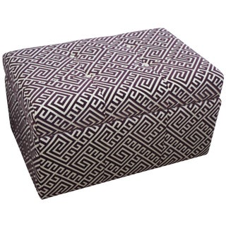 Greek Key Upholstered Storage Ottoman