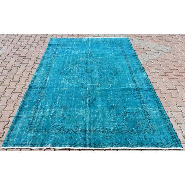 Turquoise Overdyed Vintage Oushak Rug - 6′8″ × 10′6″ - Image 2 of 6