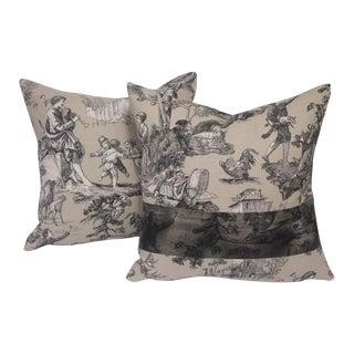 Custom Toile Pillows with Black Overspray - A Pair