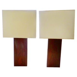 Robert Sonneman Rosewood Table Lamps - A Pair