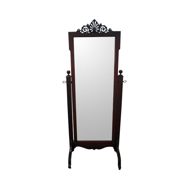Antique Mahogany Classical Carved Cheval Mirror - Image 1 of 10