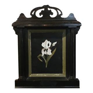 Antique Italian Pietradura -White Orchid - w/beautiful Ebonized Frame
