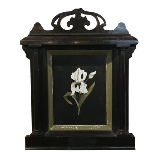 Antique Italian Pietradura -White Orchid - w/beautiful Ebonized Frame