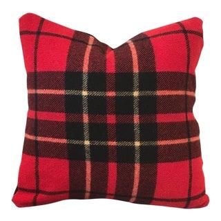 Vintage Scottish Red Tartan Wool Pillow