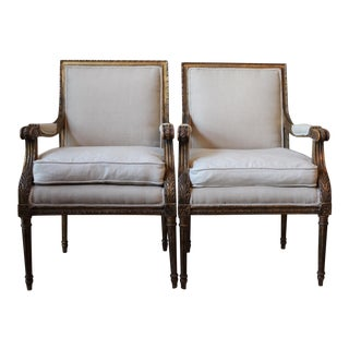 Louis XVI Style Fauteuil Accent Chairs - A Pair
