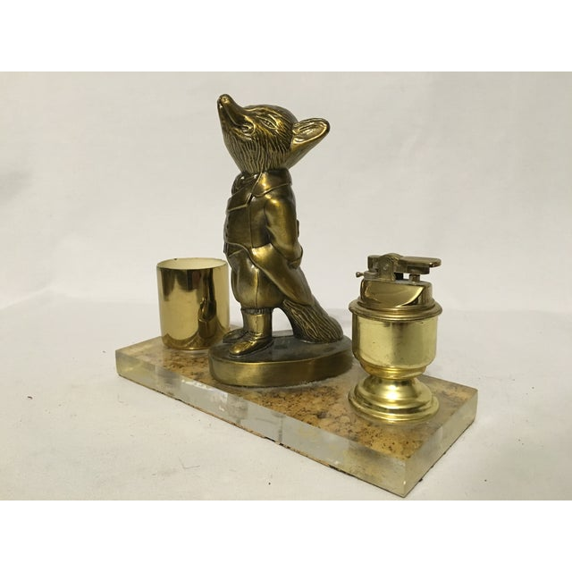 Brass Fox Cigarette and Lighter Set - Image 2 of 10