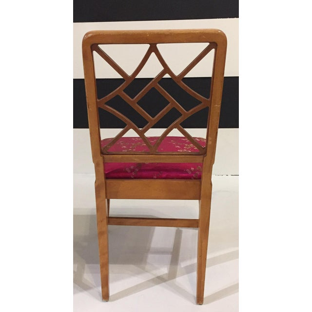 1940's Fretwork Greek Key Side Chair With Asian Upholstery - Image 5 of 9