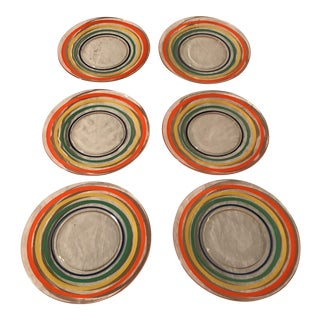 Glass Multi-Color Appetizer Plates - Set of 6