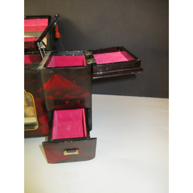 Asian Black Lacquer Jewelry Music Box - Image 5 of 11
