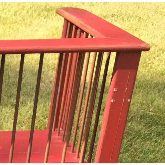 Spindle-Back Red Bench - Image 9 of 11