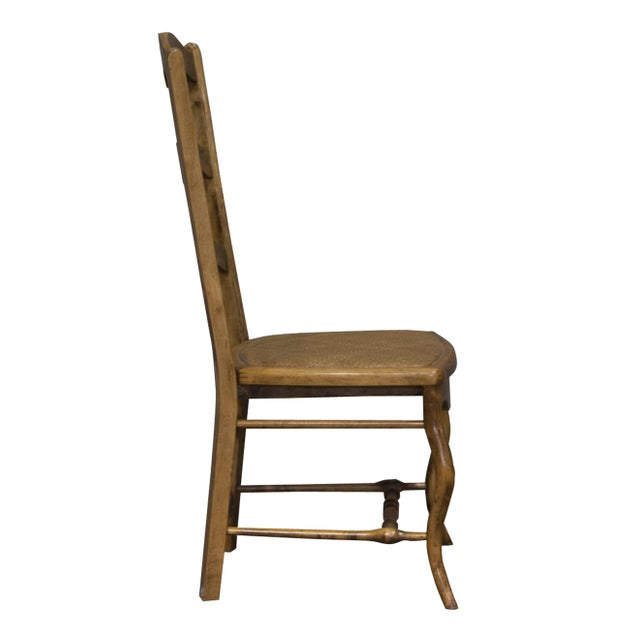 Vintage Sarreid LTD Alder Wood Ladderback Hall Chair - Image 3 of 4