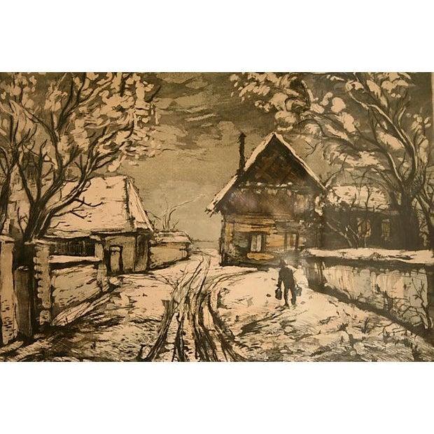 Image of Vintage Snowy Scene Etching