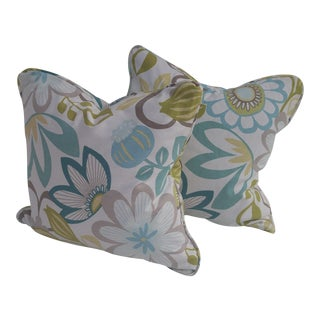 Floral Blue & Green Pillows - A Pair