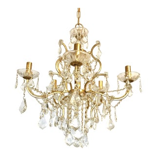 Gold and Crystal 5-Arm Chandelier