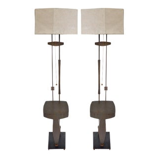 Mid-century Modern Bronze and Iron Sculptural Floor Lamps-a Pair