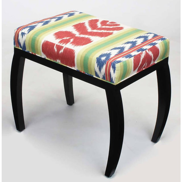 Pair of Interior Crafts Black Lacquer and Ikat Benches - Image 5 of 8