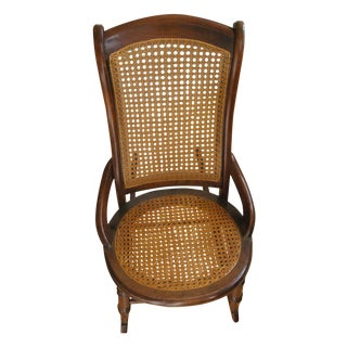 Victorian Walnut and Cane Small Rocking Chair